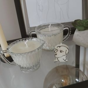100% soy wax candles in vintage glass vessel